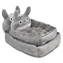 Super Cute Pet Bed Dog Cat Bed Lovely Cartoon Totoro Shape Puppy Kennel Short Fluff Material Pet Cushion Creative Novel Design