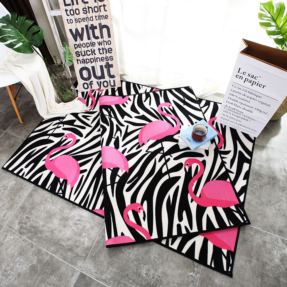 Polyester material black and white geometric abstraction pink flamingo pattern living room bedroom carpet home decorator rug in carpet from home garden on