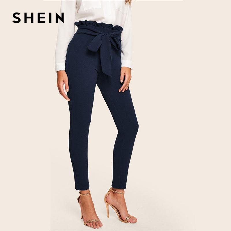 SHEIN Elegant Paperbag Waist Belted Detail Solid High Waist Pants Women Skinny Frill Trim Elastic Waist Spring Summer Pants 2