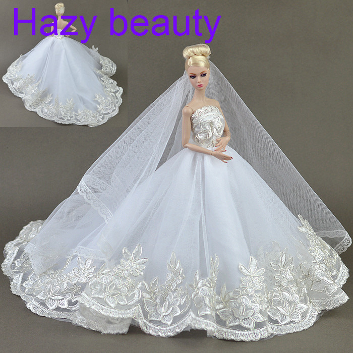 Hazy beauty High quality Handmade Gifts For Girls Slim Evening Suit Wedding Dress  Clothes For Barbie 1:6 Doll BBI00155 autonomous design handmade gifts for girls doll accessories evening suit wedding dress clothes for barbie doll bbi00508