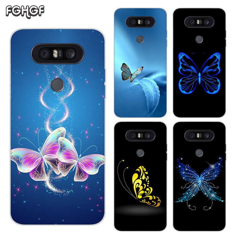 Painted Pattern Soft Rubber TPU Case For LG Q8 Q7 Q6 G6 G7 G5 G4 V40 V30 V20 V10 Transparent Cover Cartoon Butterfly