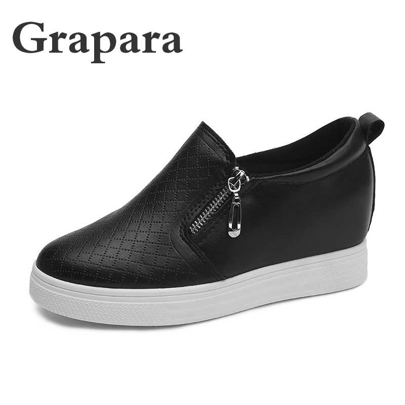 Casual Shoes Woman Sneakers Women Shoes Slip on Zipper Breath Leather Flat  Platform Shoes Loafers Increase 1845e87a0689