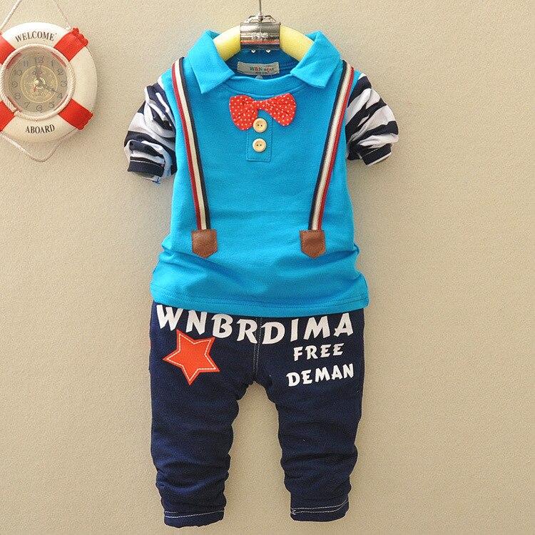 Новинка; Лидер продаж Одежда для маленьких мальчиков 2 шт. футболка с длинными рукавами + брюки письмо Красивый Мода