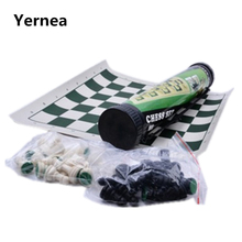 Outdoor Plastic Chess Portable Cylinder Set  Black and White Folding board Family Travel Essential Yernea