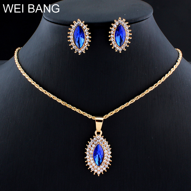 weibang  Pendant Earrings Jewelry Set For Glamor Women's Clothing Accessories Red / Blue dropshipping