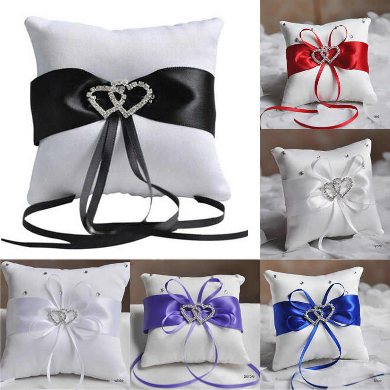 European Wedding Decor Ring Pillow Double Heart White Red Blue Handmade Ribbon Bowknot Rhinestone Party Supplies