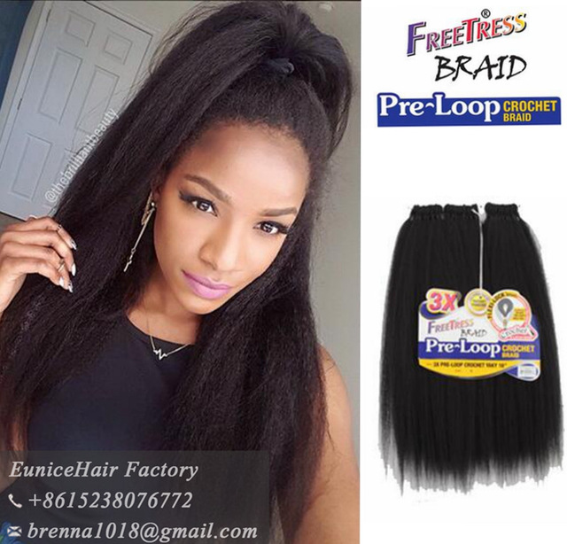 Freetress Braid Pre Loop Yaki Straight Hair Extension Synthetic