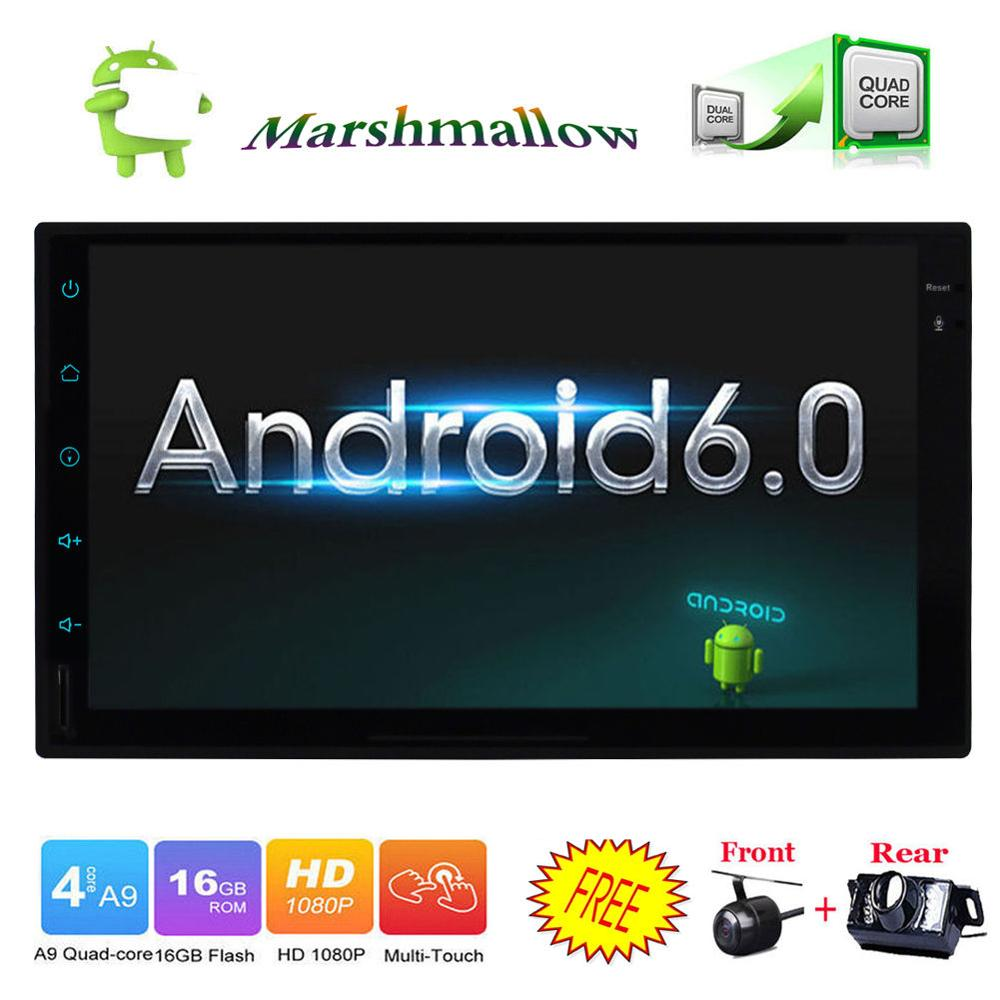 4-Core 7 Double Din Android 6.0 Car Stereo No DVD Player GPS Nav In Dash HD CAM