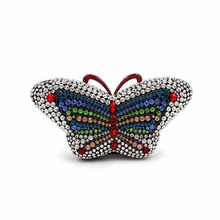 2016 European and American luxury diamond colorful butterfly evening bags ladies hand bag crystal party bag chain wedding clutch