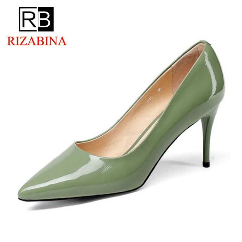 RizaBina Sexy Office Ladies Genuine Leather High Heel Shoes Women Pointed Toe Patent Leather Women Thin Heel Pumps Size 34-39 2017 women pointed toe patent leather office high heel shoes ladies pumps wedding party dress shoes 8 cm appliques
