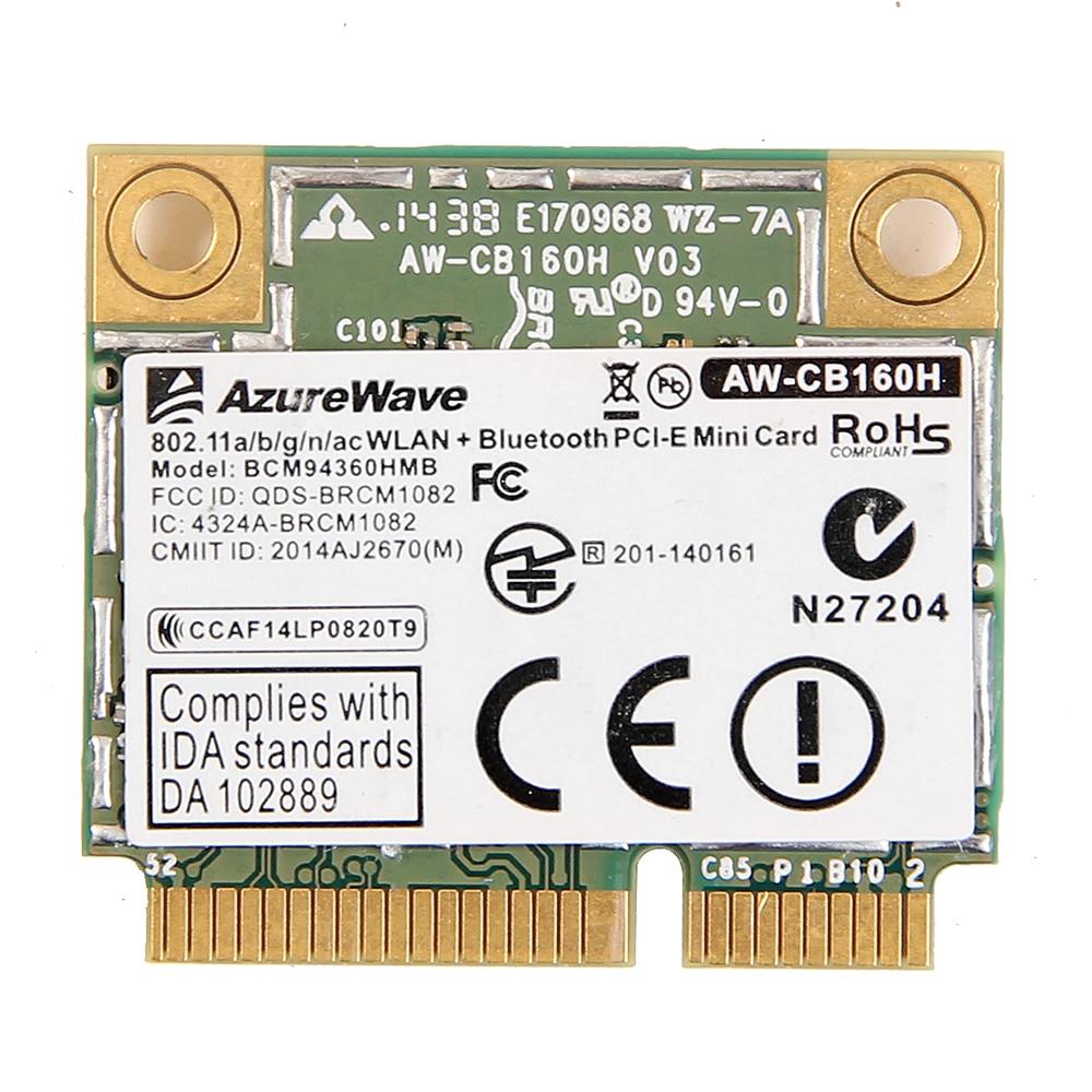AzureWave AW-CB160H Broadcom BCM94360HMB 802.11AC 1300Mbps Wireless WIFI WLAN Bluetooth 4.0 Mini PCI-E Card + 20cm MHF4 Antennas