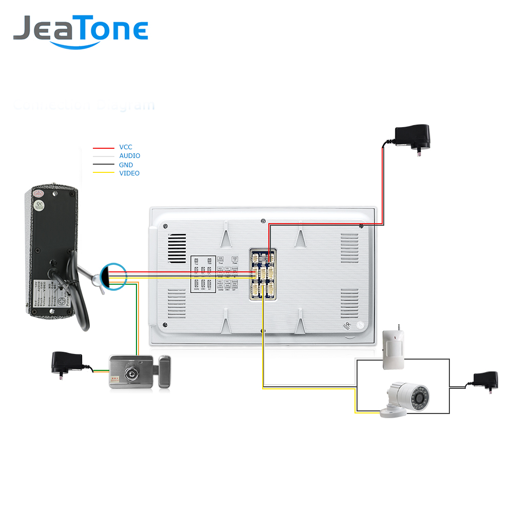 hight resolution of jeatone 7 wired video door phone doorbell home security intercom system 1200tvl camera led color display monitor home security in video intercom from