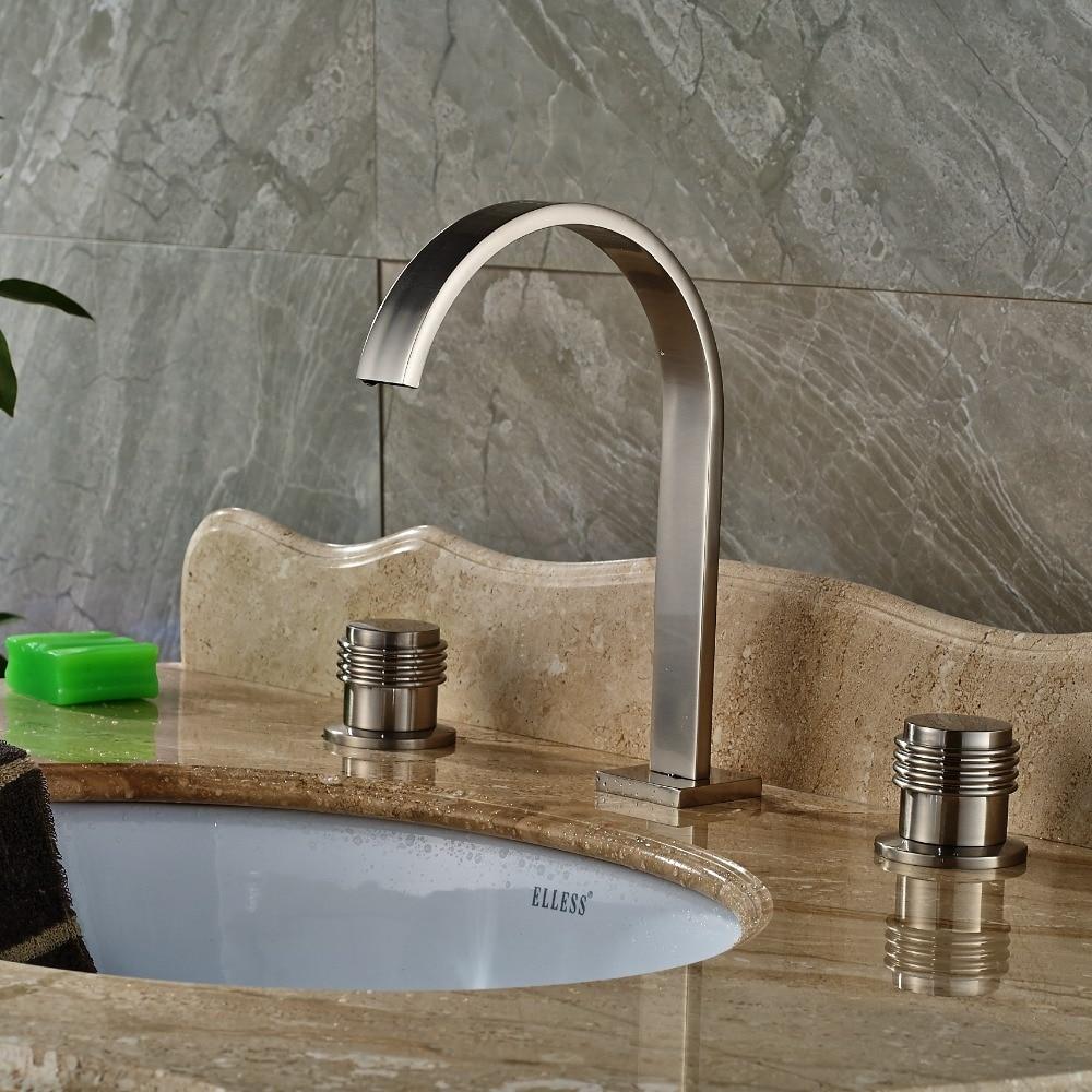 Widespread 3PCS Bathroom Basin Faucet Dual Handles Vanity Sink Mixer Brushed Nickel декор lord vanity quinta mirabilia grigio 20x56