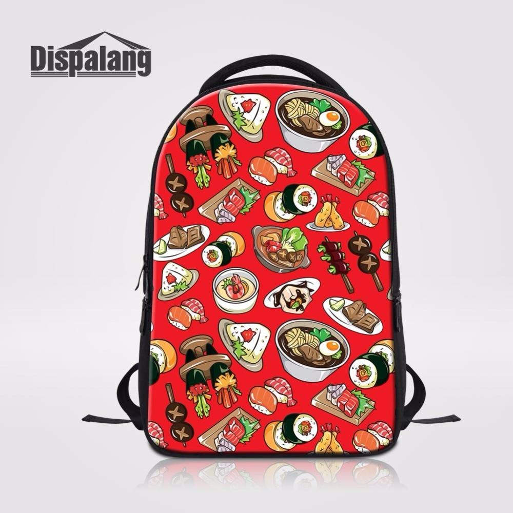 Dispalang Cartoon Sushi Prints Women Computer Backpacks Travel Rucksack College Laptop Bags Customized School Bag Casual