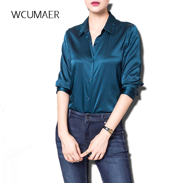 1ce3cf5eb848a6 S-XXXl Fashion Red White Black satin silk blouse ladies casual long sleeve  button Turndown Collar real silk satin blouses 80114