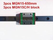 Kossel Pro Miniature 15mm linear slide :3pcs MGN15 – 650mm rail+3pcs MGN15C carriage for X Y Z axies 3d printer parts