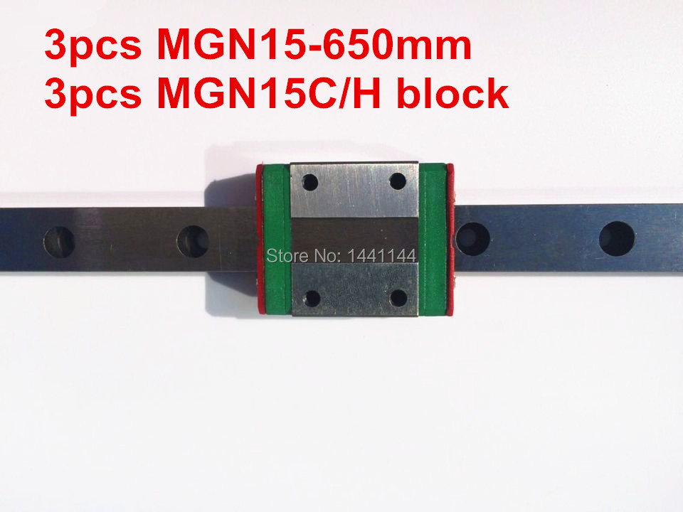 MGN15 Miniature linear rail:3pcs MGN15 - 650mm rail+3pcs MGN15C/MGN15H carriage for X Y Z axies 3d printer parts 3pcs mgn15 400mm linear rail 3pcs mgn15h long type carriage