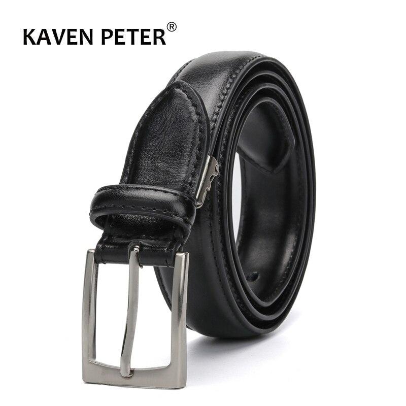 Männer Klassische Echtes Leder Gürtel Für Jeans Einzelne Zinke Schnalle Schwarz Kleid Gürtel Für Frauen Und Männer 3,0 cm gürtel Breite Riem
