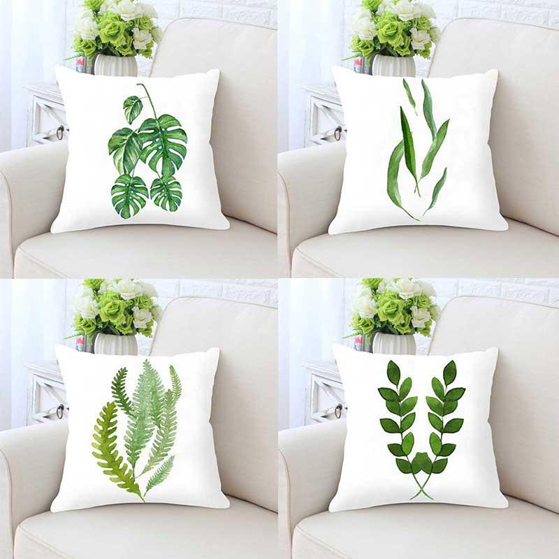 Watercolor Green Leaves Cushion Tropical Plants Monstera Leaf Print Plush Pillow For Home Living Room Office Chair Decoration