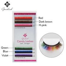Genielash 6 colors Rainbow Eyelash Extensions 0.07 thickness fit for volume eyelash extensions Colorful makeup lashes