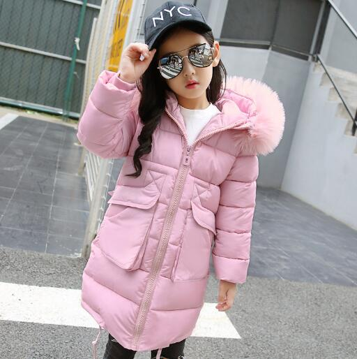 Winter Jacket Girl Fur Collar Hooded Kids Clothing Children Outerwear Winter Jackets Coats For Girls Thick Warm Parka цена