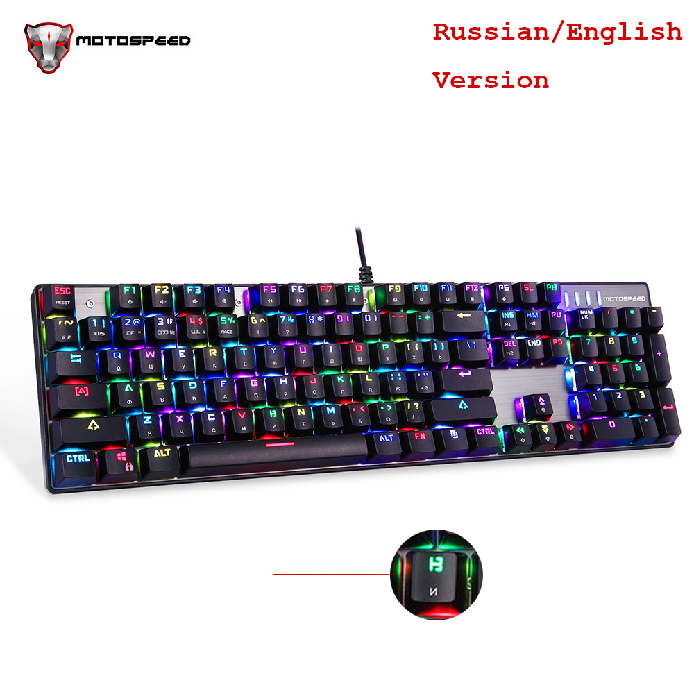 MOTOSPEED CK104 Русский Английский механическая клавиатура с RGB Подсветка anti-ореолы Gaming Keyboard для Teclado компьютерной игры