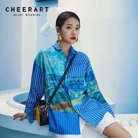 Cheerart Blue Striped Print Blouse Women Patchwork Tie Dye Open Back Shirt Long Sleeve Top Fashion
