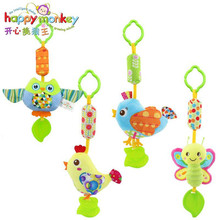 Happy Monkey Wind Chime Take Along Animal Styles Infant Baby Toys Crib Stroller Soft hanging Bell Rattle Toys 0-18 Month
