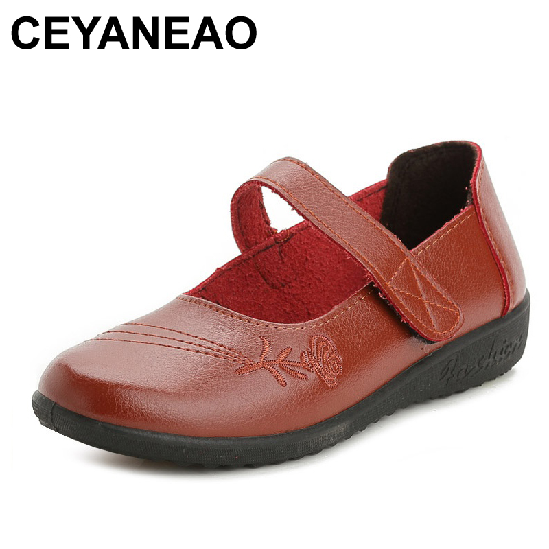 CEYANEAO2018 Spring women's shoes fashion casual mother shoes middle-aged non-slip comfortable women flat shoes size 35 39 40 aiyuqi big size 41 42 43 women s comfortable shoes 2018 new spring leather shoes dress professional work mother shoes women