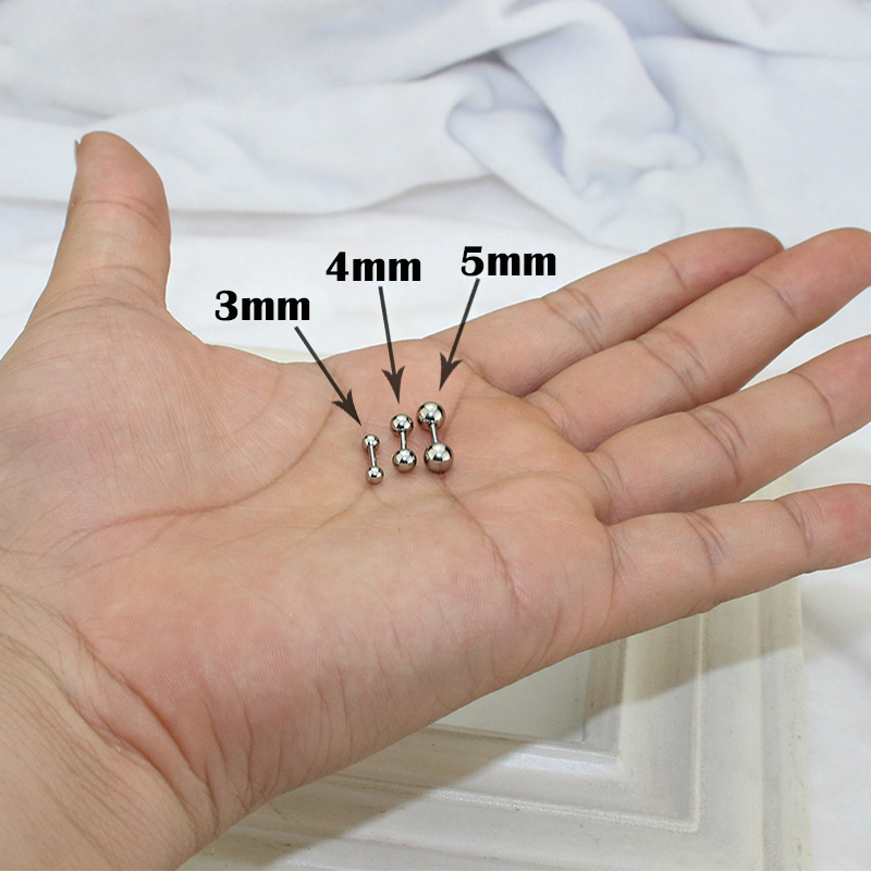 3pcs/pack Stainless Steel Small Ball Screw Ear Studs For Women Men Piercing Tragus Earrings Cute Ear Bone Nail/Stick