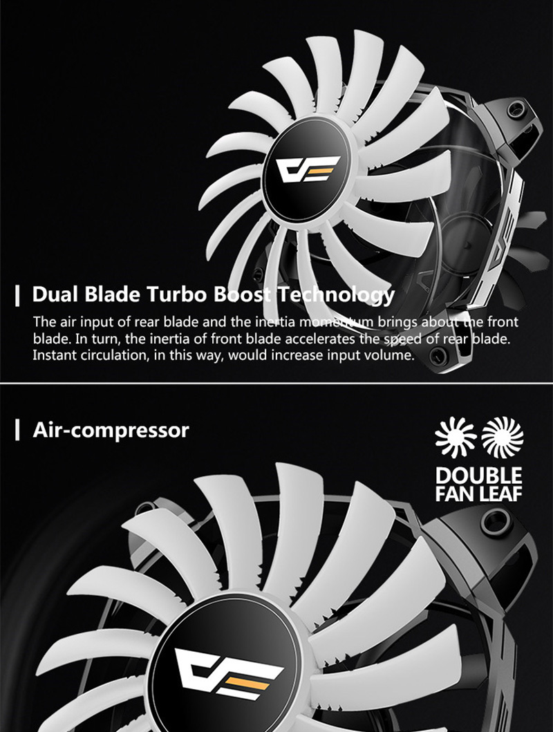 darkFlash ZR12 Dual Blade PC Fan 120mm Silent Case Cooling Fan Cooler PWM  4pin+3pin for Computer Case CPU Cooling Fans Radiator