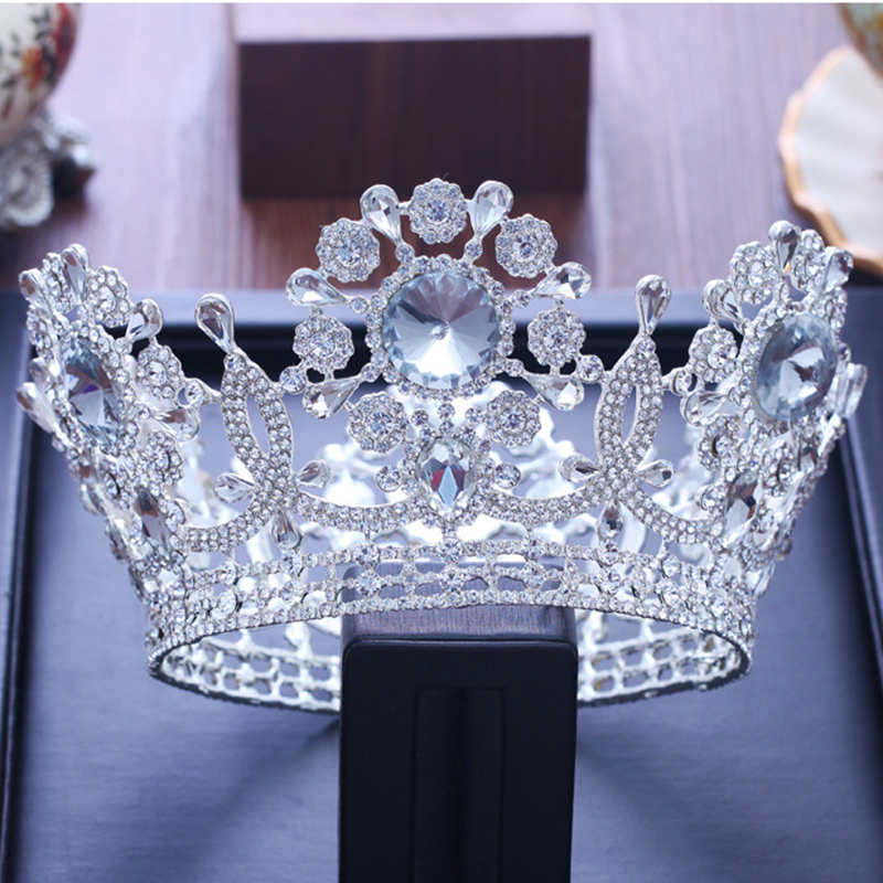 Bridal Tiaras and Crowns Full Crystal Rhinestone Silver Wedding Hair Crown for Women Hair Jewelry Accessories Factory Wholesale fashion european styles silver hair jewelry pearl crystal tiaras and crowns for bride wedding women handmade hair accessories