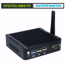 HYSTOU Micro PC dual NIC Celeron N3160 2*HDMI+1*DP Small PC 12V Windows 8 WiFi&Bluetooth 2 Gigabit LAN Windows Linux PC Server