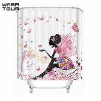 Warm Tour Trendy Pink Flower Fairy Girl Butterfly Shower Curtain Polyester Fabric Waterproof Mildew Resistant Bathroom