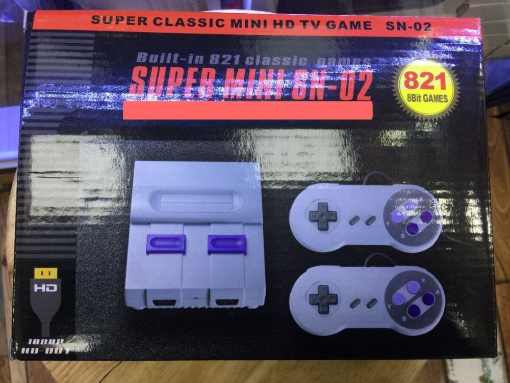 Mini HD HDMI TV Video Game Console Handheld Retro Family Game Console Built-In 821 Classic for SNES games Dual gamepad PAL&NTSC