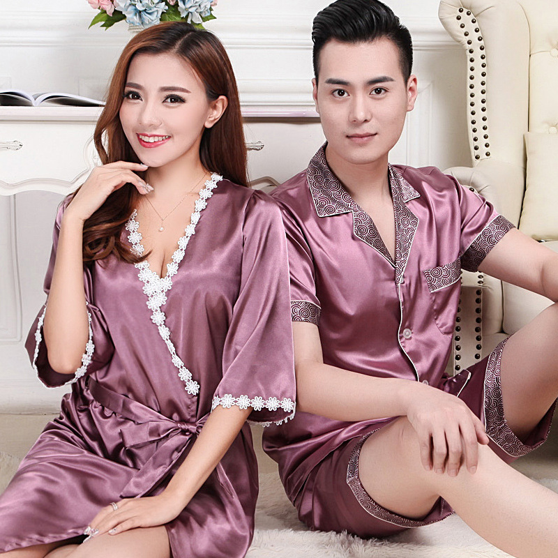 Summer lovers silk pajamas men short-sleeved silk sleepwear home sleepwear spring summer nightgown womens pajama set loungewear