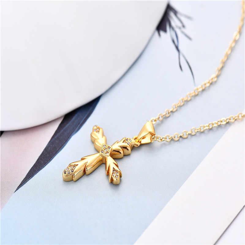 ผู้หญิงขนาดเล็ก Gold Cross จี้สร้อยคอผู้หญิงผู้หญิงเด็ก Mini Charm จี้เครื่องประดับเครื่องประดับสำหรับสุภาพสตรี Elegant