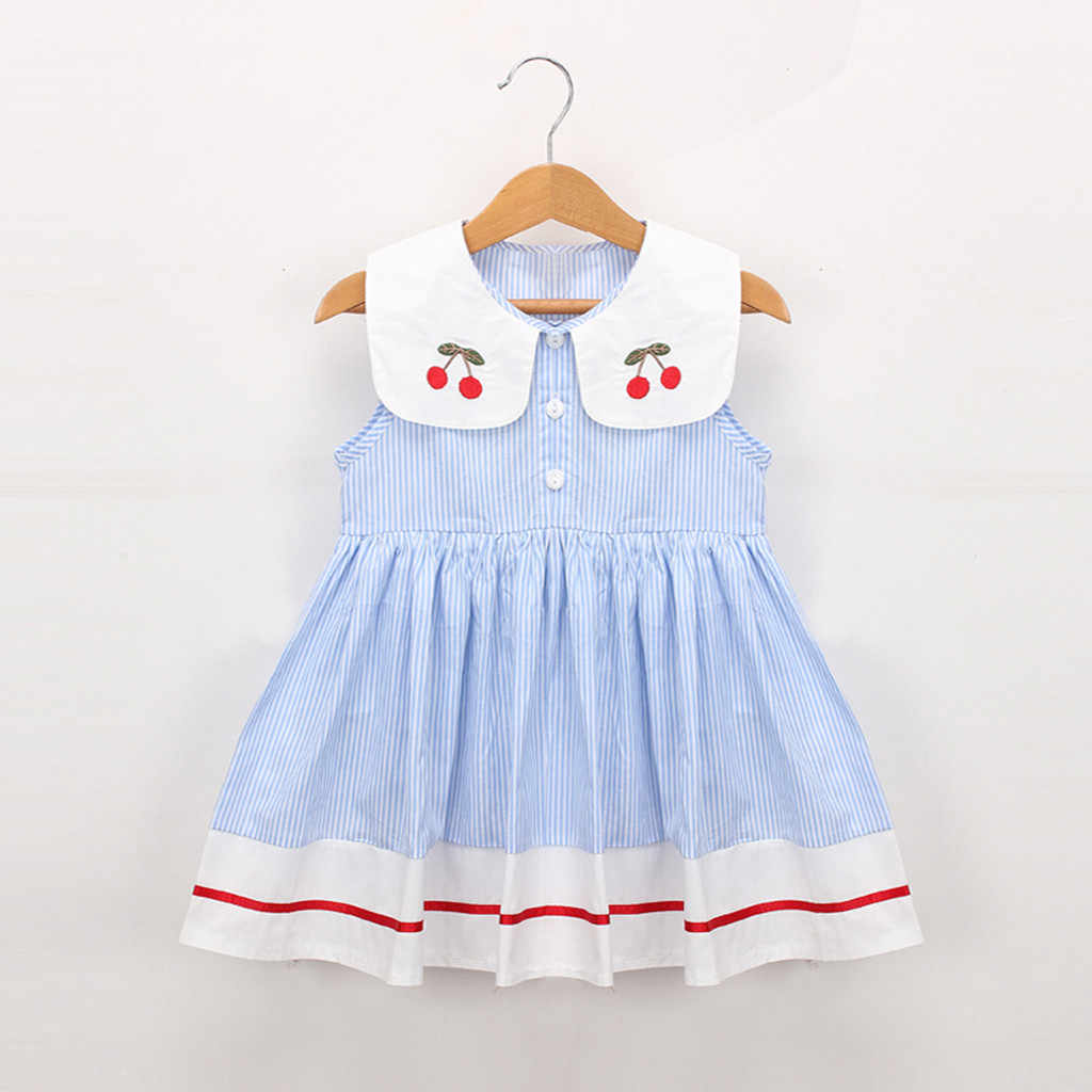 Kids Toddler Baby Girl Princess Dress Toddler Kids Baby Girls Clothes Sleeveless Cherry Stripe Party Princess Dresses