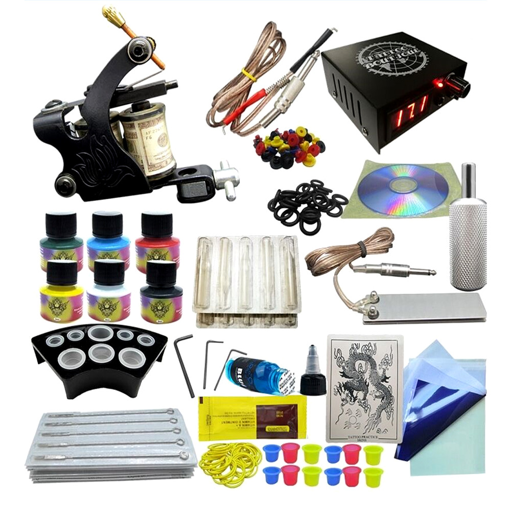 Professional Tattoo Model 6 One Machine Gun Set 6 Color Inks Power Supply Complete Tattoo Kits Permanent Makeup