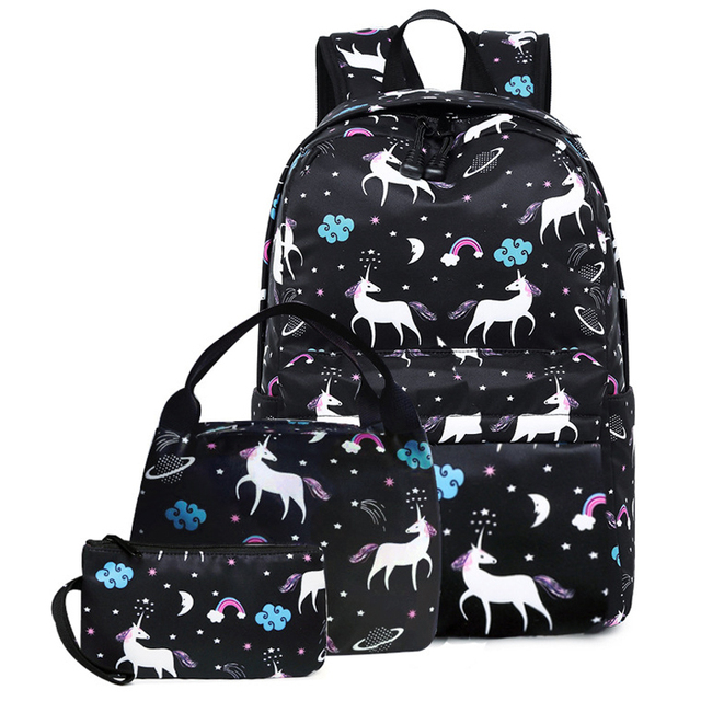 3pcs Set Women Unicorn Printing Designer Backpack Schoolbag For Agers S Lunch Box Computer Student
