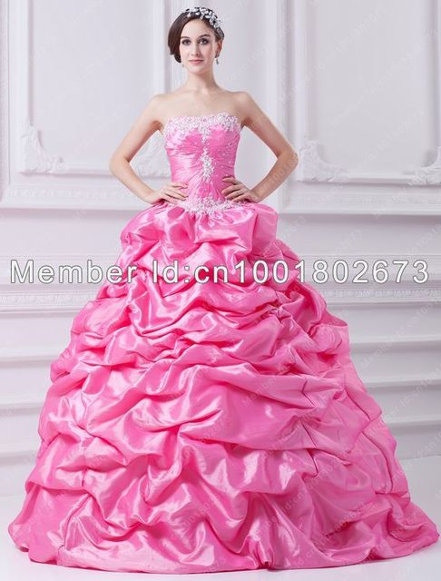 9295ec2bc66 Free Shipping Ball Gown Strapless Appliques Beading Pick Up Skirt  Floor-Length Quinceanera Dresses Custom Prom Dress Party Gowns