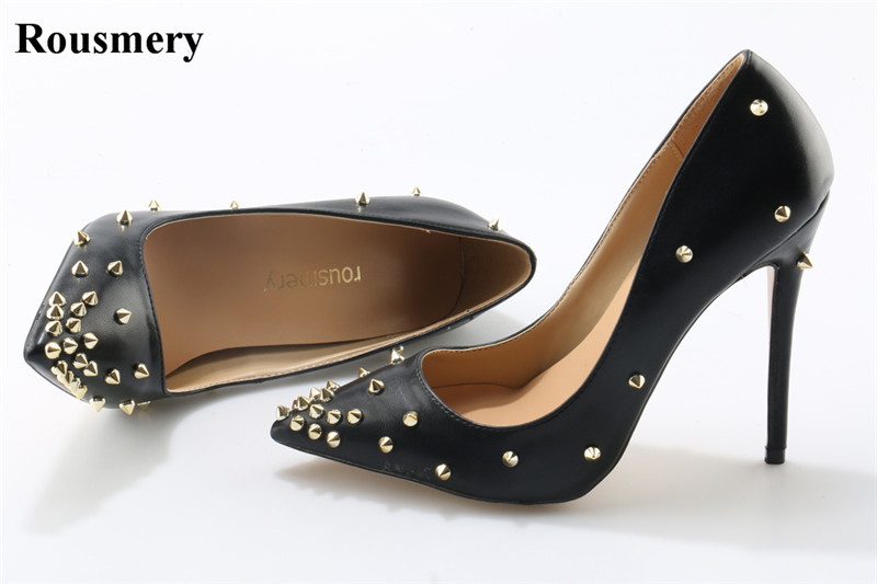 Women Cheap Fashion Pointed Toe Black White Gold Spike Pumps Classical Style 10cm 12cm High Heels Formal Dress Wedding Shoes women classical design silver pointed toe transparent pumps ankle buckle design 12cm high heels formal dress shoes