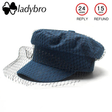 517bcc0076f Ladybro Elegance Mesh Denim Hat Women Military Hat Lady Casual Casquette  Flat Top Army Hat Autumn