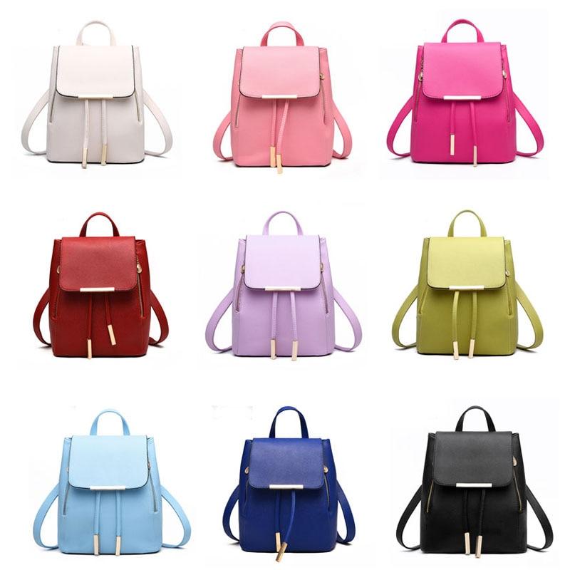 HTB1lqhKaE3IL1JjSZFMq6yjrFXaL Ainvoev Bookbag Women Backpack Fashion Girls Leather Backpack Candy Color Teenage School bag Mochila High Quality Satchel
