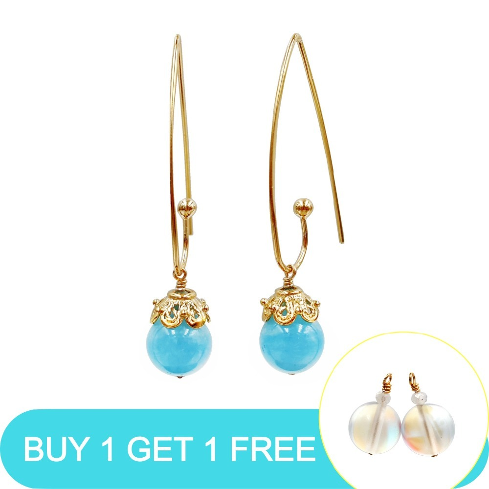 LiiJi Unique Natural Blue Aquamarines 10mm 925 Sterling Silver Gold Color Long Drop Earrings