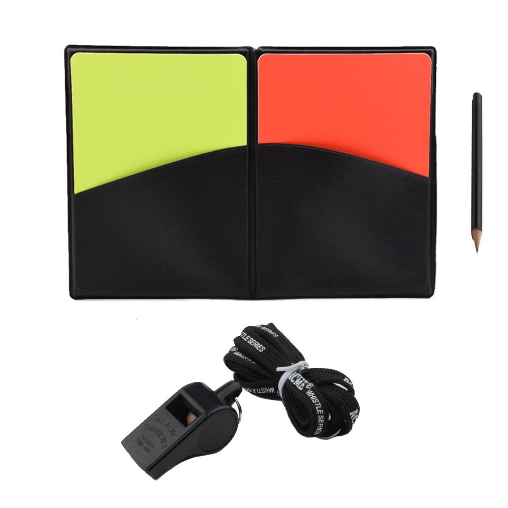 Football Referee Cards Whistle Red Yellow Cards Sports Soccer Coach Whistles