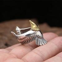 Estilo Indio de la vendimia Águila Cuff Anillo Hombres 100% Sólido 925 Joyas de Plata de Diseño Caja de Regalo de Calidad Superior de Los Hombres Del Envío 10.7g