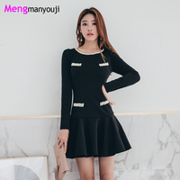 2018 New Korea Pearl Beads Ruffles Elegant Women Dresses A Line O Neck Long Sleeve Fashion