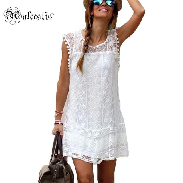 41c6369a8 Vestido de verano 2016 Mujeres Casual Playa Vestido Corto Borla Negro  Blanco Mini Vestido de Encaje