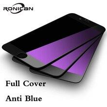 RONICAN Protector de pantalla de cristal templado 9H 2.5D para Apple iphone 7 Plus, película protectora Anti luz azul para iphone 7